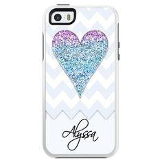 Purple Blue Faux Glitter Heart Chevron - Otterbox Symmetry iPhone Case. Cute iPhone Cases! #cutestcaseever #iphone #apple