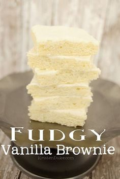 Fudgy Vanilla Brownie, super dense and delicious. Also known as White Texas Sheet Cake, this recipe is AMAZING! #brownie #texassheetcake Capturing-Joy.com