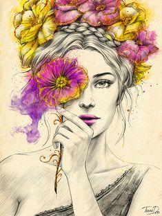 Beauty by Tania Dmitrieva, via Behance acuarela rostros Beauty L'art Du Portrait, Portrait Paintings, Art Paintings, Fantasy Paintings, Art And Illustration, Pencil Art Drawings, Art Drawings Sketches, Art Beauté, Frida Art
