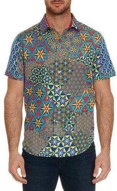 New Robert Graham $398 THE PRISM Skull Print Short Sleeve Limited Edition Shirt