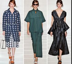 Consuelo Castiglioni stole his inspiration from many places in these garments. The first, the blue plaid garment comes from the 60s color blocking and pattern mismatching which the one in the middle--the green is an unfitted sac dress like that of the 1950s. The black one on the far side comes a version of the A-line where that part of the design is only in the top of the dress.