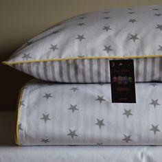 100-COTTON-Single-Cot-Bed-Duvet-Cover-Set-Girls-Boys-Grey-Stripes-Stars-Yellow