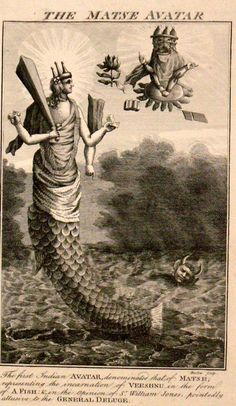 """Wood engraving from 1790's. """"The first Indian avatar, denominated that of Matse; representing the incarnation of Veeshnu in the form of a fish."""" Herman Melville in Moby Dick writes of  """"Vishnoo, who, by the first of his ten earthly incarnations, has for ever set apart and sanctified the whale"""" (Ch. 82)."""