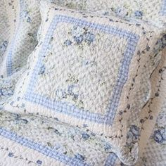 Quilted Blue & White Bed Linens~❥