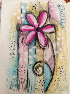 Watercolour mixed media art journal page #art #artjournal #artjournalling #artjournalpage #dylusionsjournal #flowers #intuitiveart #intuitivepainting #journal #layers #mixedmedia #mixedmediaart #neocolors #paint #pen #watercolour