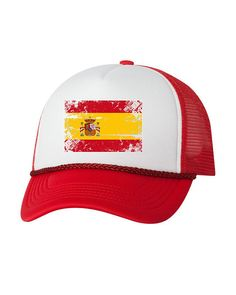 18950ac2089 Spain Flag Trucker Hat Spain Hat for Men and Women Spanish Football Cap  Spain Soccer Gifts Spain Sna