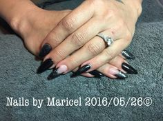 Stiletto nails, Nele acrylic gel with black shadow and concrete couture gelish