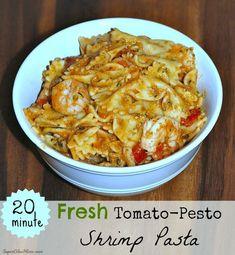 Fresh Tomato Pesto Shrimp Pasta » Super Glue Mom™