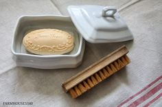 Ironstone soap dish with cover . . . and scrub brush . . . and take note that the soap is Sweet Heart soap.