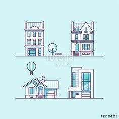 Vettoriale: Set of vector illustration traditional and modern houses. For web design and application interface, also useful for infographics.