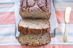 Paleo, Nut Free Banana Bread with Whipped Maple Butter | Recipe by Colorful Eats