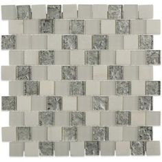 Splashback Tile Inheritance Cool Mist Marble and Glass Mosaic Wall Tile - 3 in. x 6 in. Tile Sample-L2B12 - The Home Depot