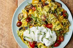 "Zucchini ""Noodles"" With Eggplant and Tomatoes"