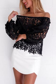 European Fashion Women Sexy Black White Off The Shoulder Lace Blouse Female Slash Neck Long Sleeve Cozy Tops Blusas Feminina Sexy Shirts, White Shirts, Blouse Neck Designs, European Fashion, Stylish Outfits, Casual Looks, Blouses For Women, Womens Fashion, Clothes