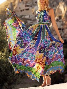 Printed Sleeves Backless Big Hemline Bohemia Maxi Dress – oshoplive