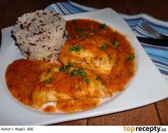 Treska v rajské směsi Fish Recipes, Seafood Recipes, Czech Recipes, Ethnic Recipes, Fish And Seafood, Food And Drink, Chicken, Czech Food, Food Recipes