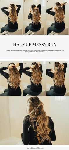 Dirty hair don't care? Well maybe we do... This #hairstyle is perfect for those dirty hair days that you just aren't ready to loose your curls or wash your hair!  #easyhairtutorial #easyhairstyle #halfupdo #messybun
