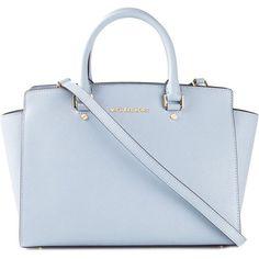 MICHAEL MICHAEL KORS medium 'Selma' tote ($410) ❤ liked on Polyvore featuring bags, handbags, tote bags, purses, purse tote, handbags totes, blue leather tote, leather hand bags and hand bags