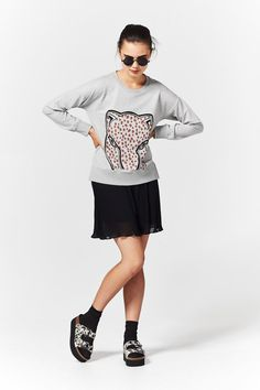 Coop Take Cat Sweater at Wendys Boutique - comes in black also