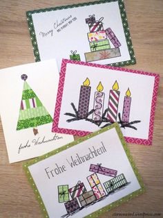 DIY: Weihnachtskarten mit Washitape und Motivpapier – New Ideas cards Christmas Post, Diy Christmas Cards, Christmas Sewing, Christmas Scenes, Xmas Cards, Diy Cards, Christmas Crafts, Christmas Paper, Paper Cards