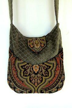Tapestry Gypsy Bag Messenger Bag Bohemian Green Chenille large bag renaissance bag messenger bag  on Wanelo