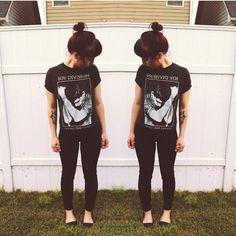 @hannah_key on Instagram. // black beans & Joy Division screen print shirt.