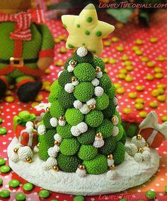 Gumpaste (fondant, polymer clay) Christmas tree making tutorials -Cake Decorating Tutorials (How To's) Tortas Paso a Paso