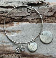 Love You to the Mountains and Back Personalized Wire Bangle Bracelet