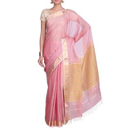 #Pink Cotton Silk #Maheshwari #Saree from #Mystical #Maheshwaris by #Indian #Artizans at #Indianroots