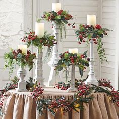 Set of Five Winter Berry Candle Rings