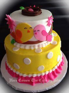 Sweet tweets baby shower cake