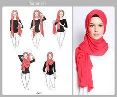 Rapunzel style hijab tutorial by duckscarves.