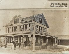 A very quiet Krug's Hotel as seen in 1890's photo, no cars at what would be known as Krug's Corner during the Vanderbilt Cup motor races 10 years later.   Located at northwest corner of Jericho Turnpike and Willis Avenue.