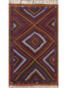 hand-knotted caucasian tribal dark red, navy rectangular wool kilim
