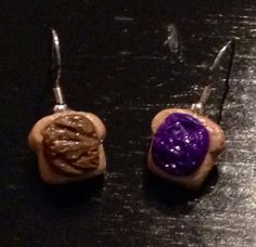 Peanut Butter & Jelly Earrings made with by sweetiesbyrobyn, $7.00
