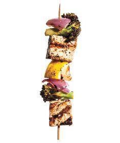 Marinated Tofu and Broccoli Kebabs