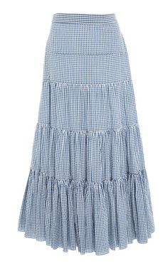 This **Caroline Constas** Gingham Peasant Skirt features a high waisted fit and tiered design. Skirt Outfits Modest, Dress Outfits, Fashion Dresses, Peasant Skirt, Dress Skirt, Indian Gowns Dresses, Tiered Skirts, Check Dress, Clothes For Women