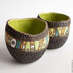 This is a cool ceramic bowl project - contrasting colors and textures