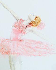 Ballerina in Pink by ShePaintsVirtue on Etsy