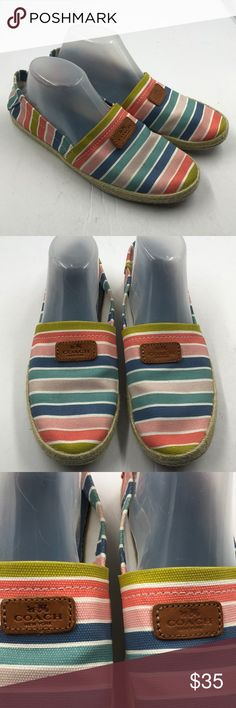 Coach Women's Striped Canvas Espadrilles Sandals 9 Adorable Coach striped canvas espadrilles loafers.  Women's size 9B.  Bundle discount.  Fast shipping. Coach Shoes Flats & Loafers