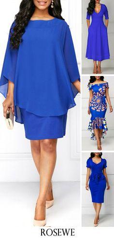 Round Neck Royal Blue Overlay Dress.#rosewe#dress#womensfashion