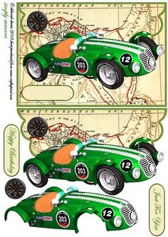 Vintage Sport on Craftsuprint designed by Deborah Davies - Vintage sports car on an envelope cardfront with decoupage and text plates. Please click on my name for more designs added daily.  - Now available for download!