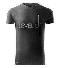MIHEROS T-Shirts & Polo Shirts - Motivation für Sport & Fitness - slim fit Herren tshirt - level up - Farbe: Schwarz - Größe: XL