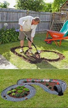 DIY Projects for Kids Inspired by Race Car Tracks 2019 Great way to get them playing outdoors! The road is cement which has been painted black. The post DIY Projects for Kids Inspired by Race Car Tracks 2019 appeared first on Backyard Diy. Diy Projects For Kids, Outdoor Projects, Diy For Kids, Cool Kids, Crafts For Kids, Kids Fun, Backyard Projects, Diy Garden Ideas For Kids, Garden Projects