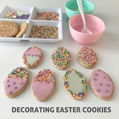 Easy activity decorating easter cookies using milk arrowroot biscuits and sprinkles! No baking required and it only takes minutes to set up. #eastercraftskids