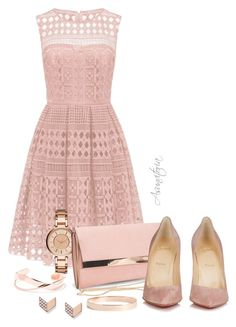 A fashion look from August 2016 featuring white prom dresses, christian louboutin shoes and man bag. Pink Outfits, Dressy Outfits, Outfit Combinations, Fossil, New Look, Polyvore Fashion, Christian Louboutin, Clothing, Accessories