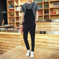 2015 Autumn New Men Fahsion Solid Overalls Men's Loose Full Length Casual Suspender Trousers Bib Overall Male Pants