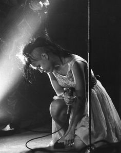 Annabella Lwin, lead singer of new wave band Bow Wow Wow, onstage in the 1980s.
