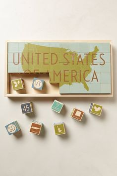 USA Wooden Blocks from @Anthropologie ..  What a fun way to learn about America with Kids!  Just Luv'd on @Luvocracy |