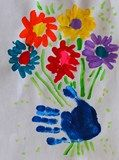 Picasso...flower - Hand print.  Could use thumb print for flower petals.